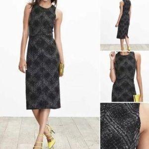 Banana Republic Wool Plaid Midi Dress